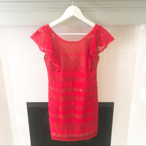 BCBG Dresses & Skirts - DESIGNER BCBG Designer Hot Pink Lace Mini Dress
